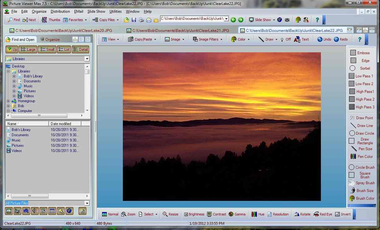 Main Window View of Picture Viewer Max